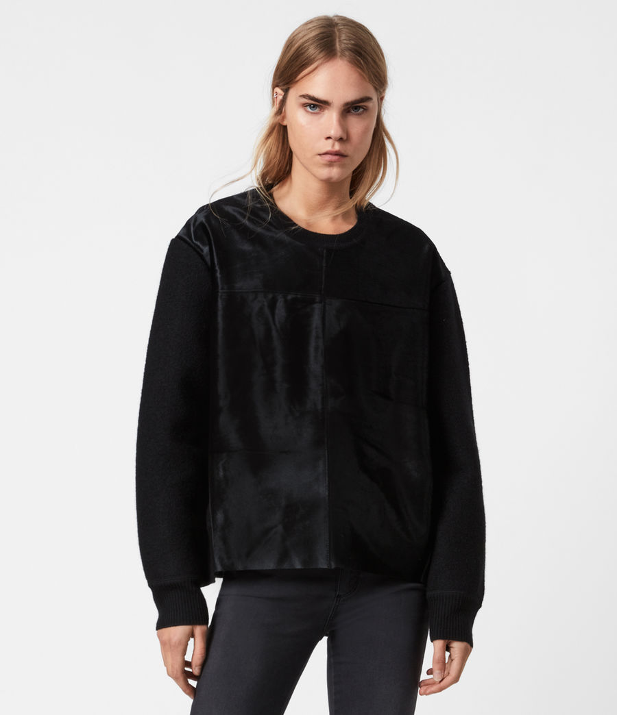 Womens Aria Leather Sweater (black) - Image 1