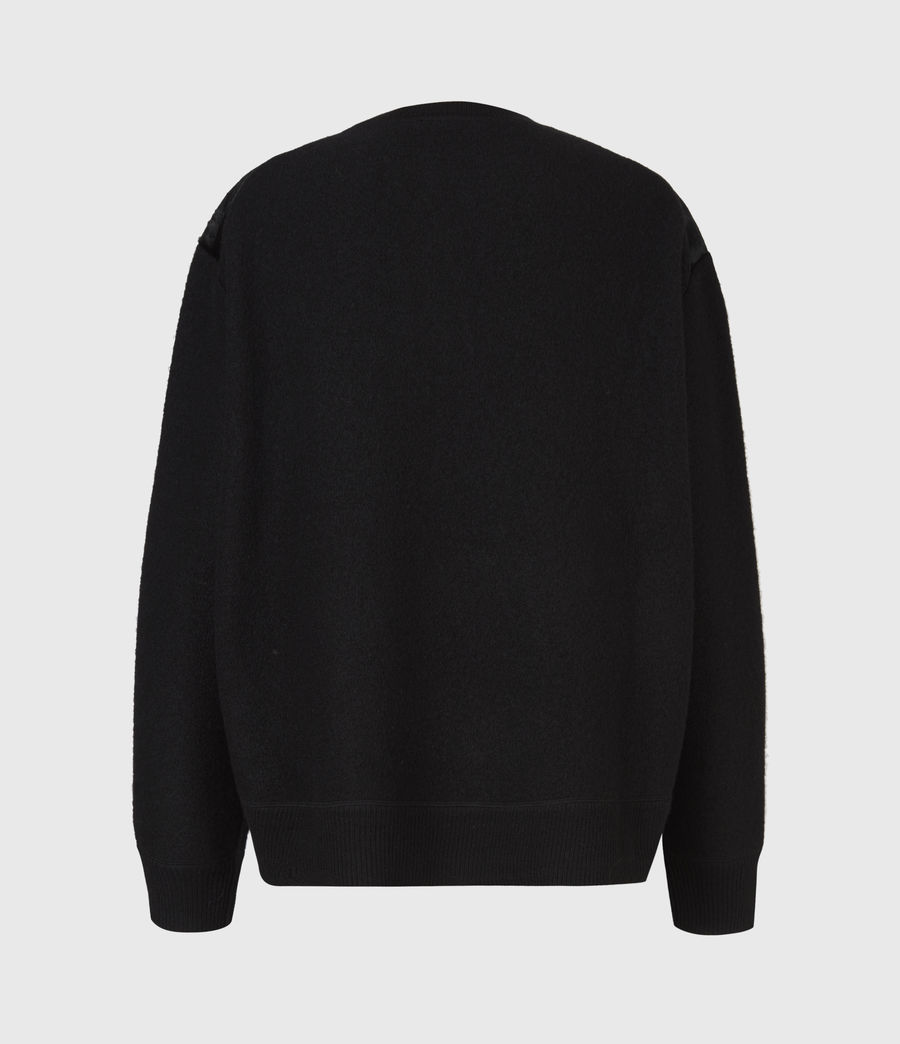 Womens Aria Leather Sweater (black) - Image 3