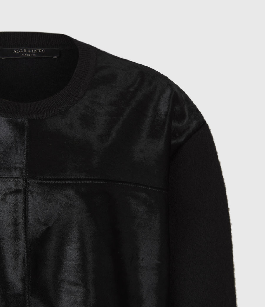 Womens Aria Leather Sweater (black) - Image 4