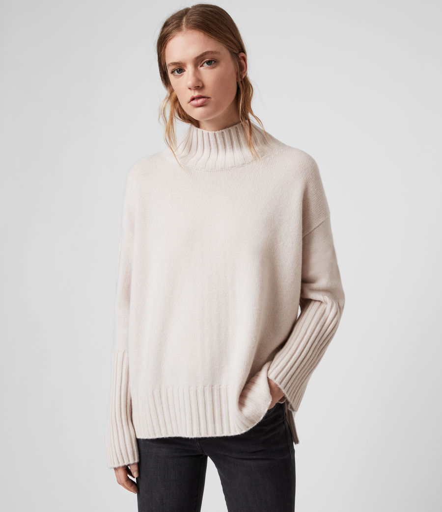 Womens Vale Cashmere Sweater (ecru_white) - Image 3