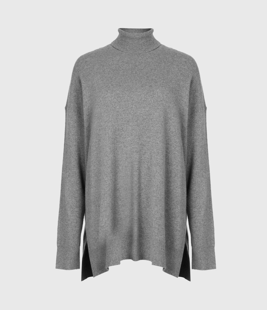Women's Gala Cashmere Blend Roll Neck Jumper (grey_marl) - Image 2