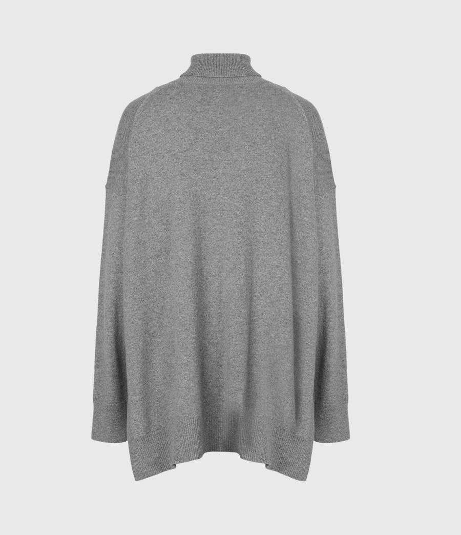 Women's Gala Cashmere Blend Roll Neck Jumper (grey_marl) - Image 3