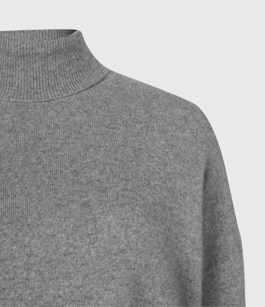 Womens Gala Cashmere Blend Roll Neck Sweater (grey_marl) - Image 4