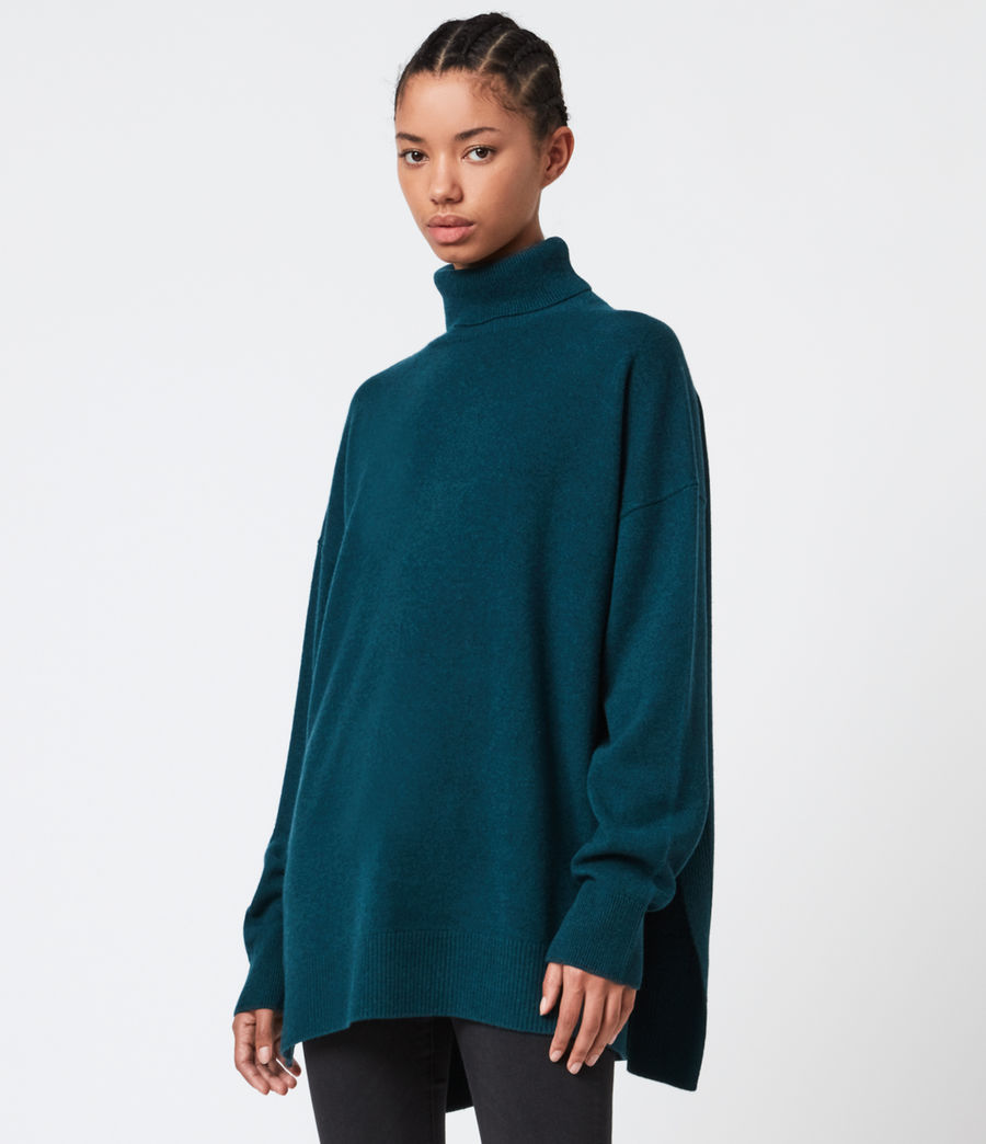 Damen Gala Cashmere Blend Roll Neck Jumper (bottle_green) - Image 1