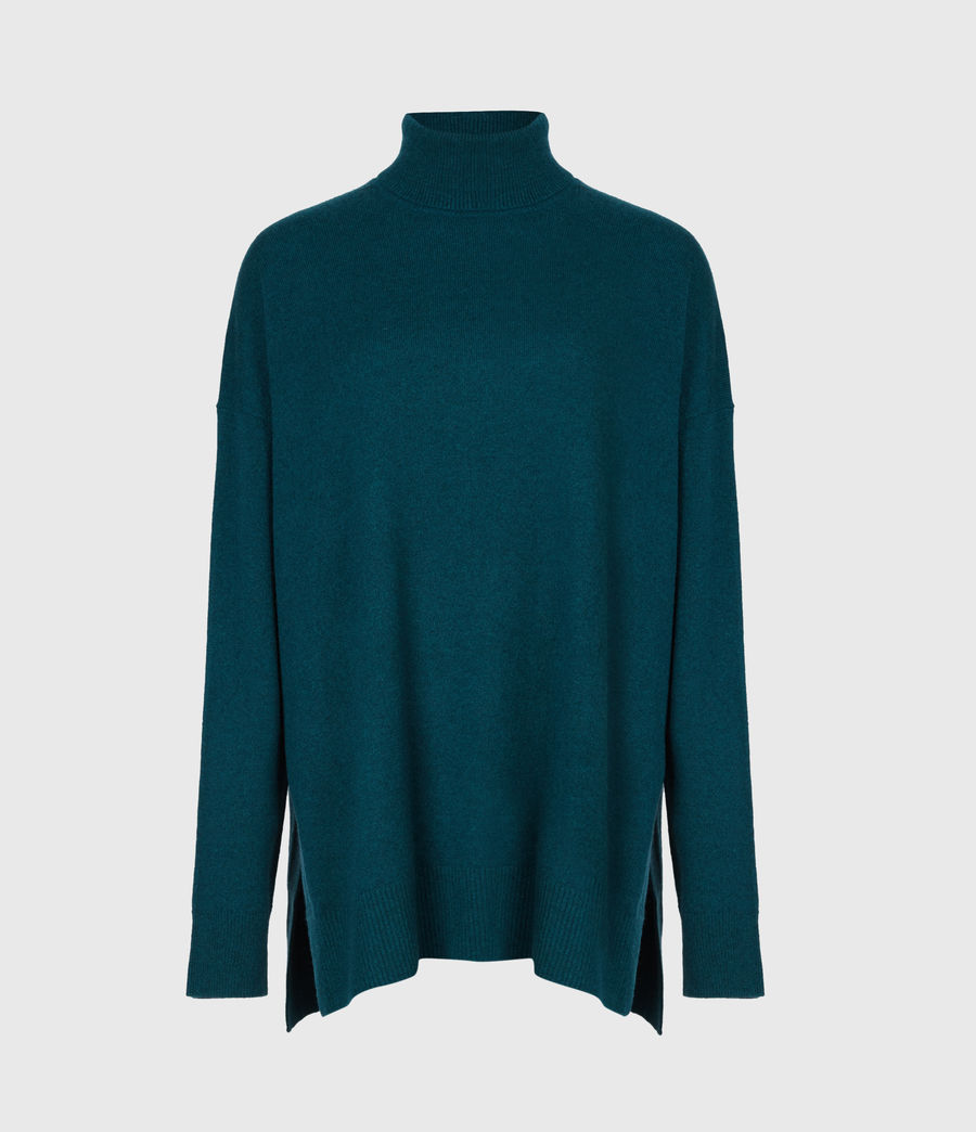 Damen Gala Cashmere Blend Roll Neck Jumper (bottle_green) - Image 2
