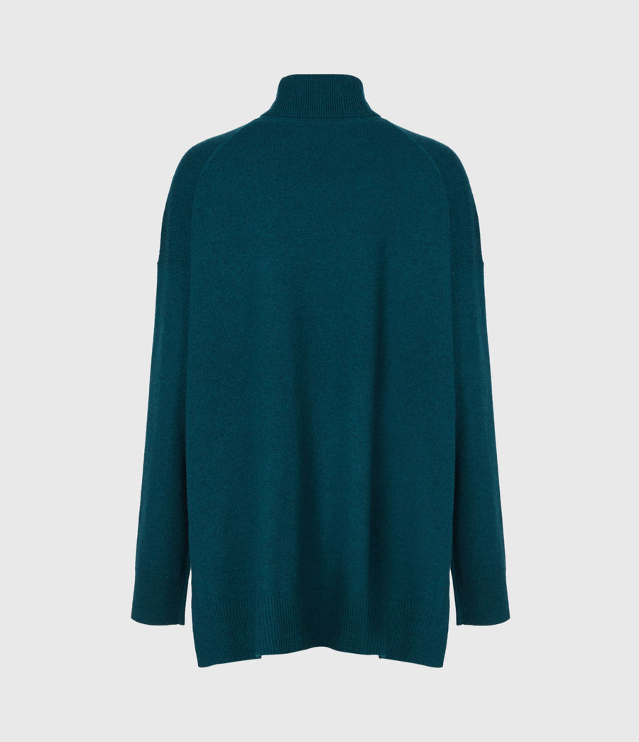Damen Gala Cashmere Blend Roll Neck Jumper (bottle_green) - Image 3