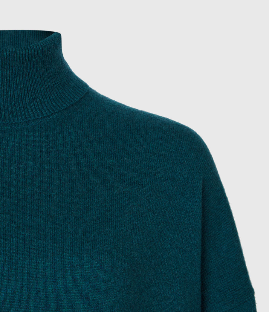 Damen Gala Cashmere Blend Roll Neck Jumper (bottle_green) - Image 4
