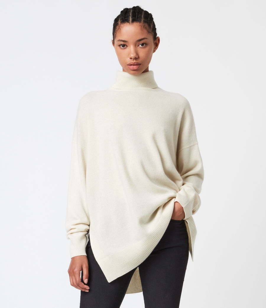 Womens Gala Cashmere Blend Roll Neck Sweater (chalk_white) - Image 1