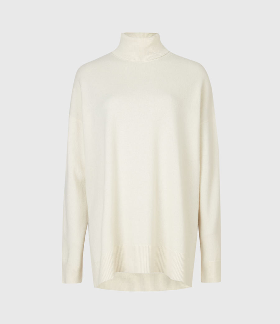 Womens Gala Cashmere Blend Roll Neck Sweater (chalk_white) - Image 2