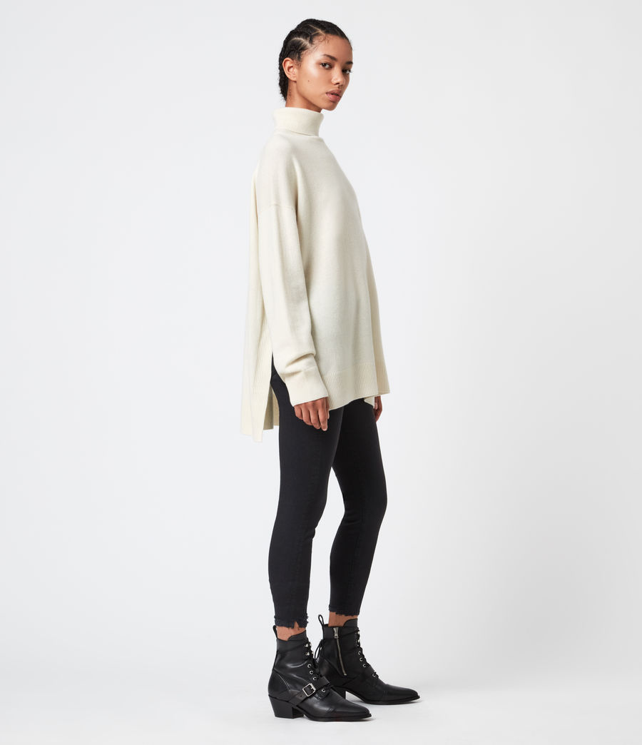 Womens Gala Cashmere Blend Roll Neck Sweater (chalk_white) - Image 4