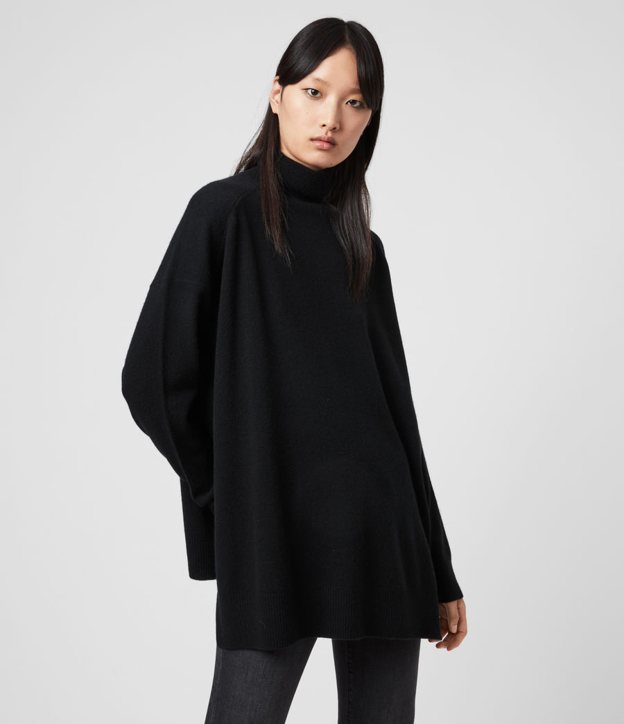 Womens Gala Roll Neck Cashmere Sweater (black) - Image 1