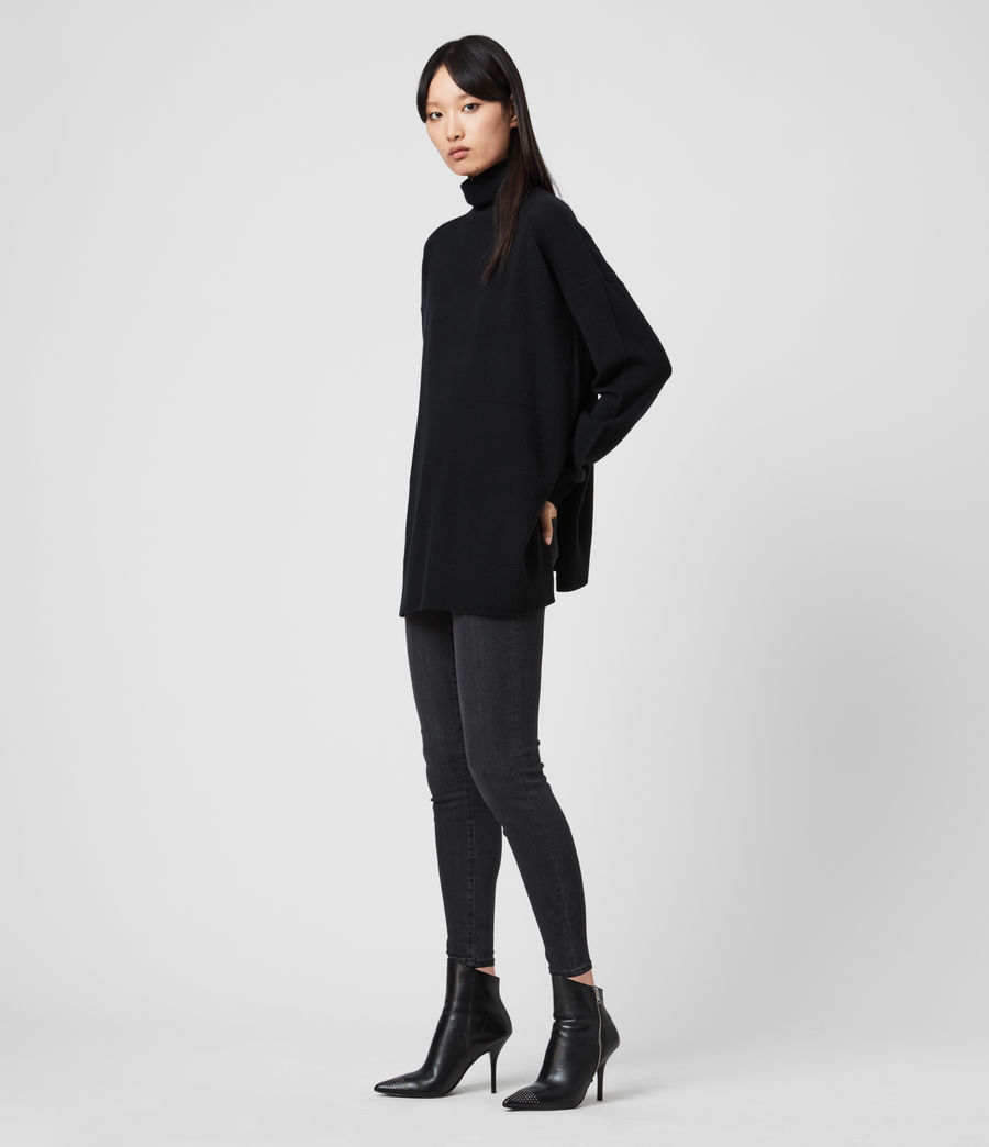 Womens Gala Roll Neck Cashmere Sweater (black) - Image 3