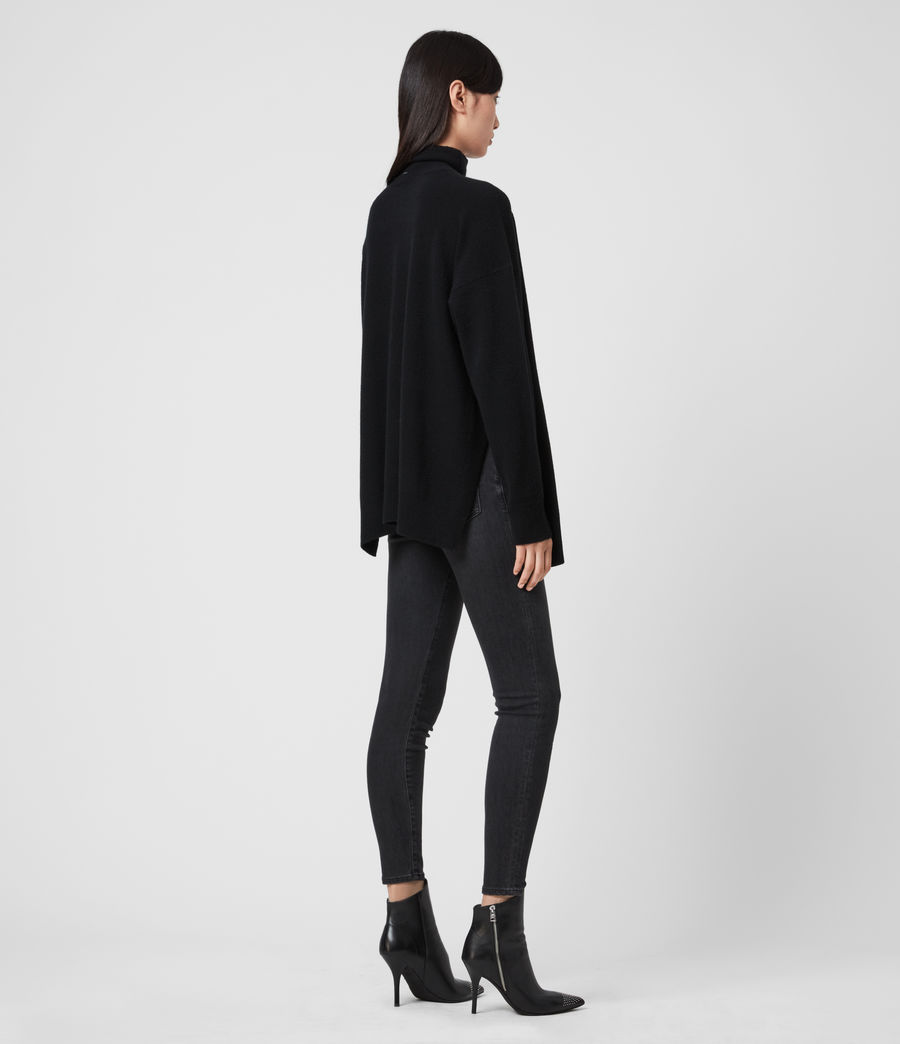 Womens Gala Roll Neck Cashmere Sweater (black) - Image 5