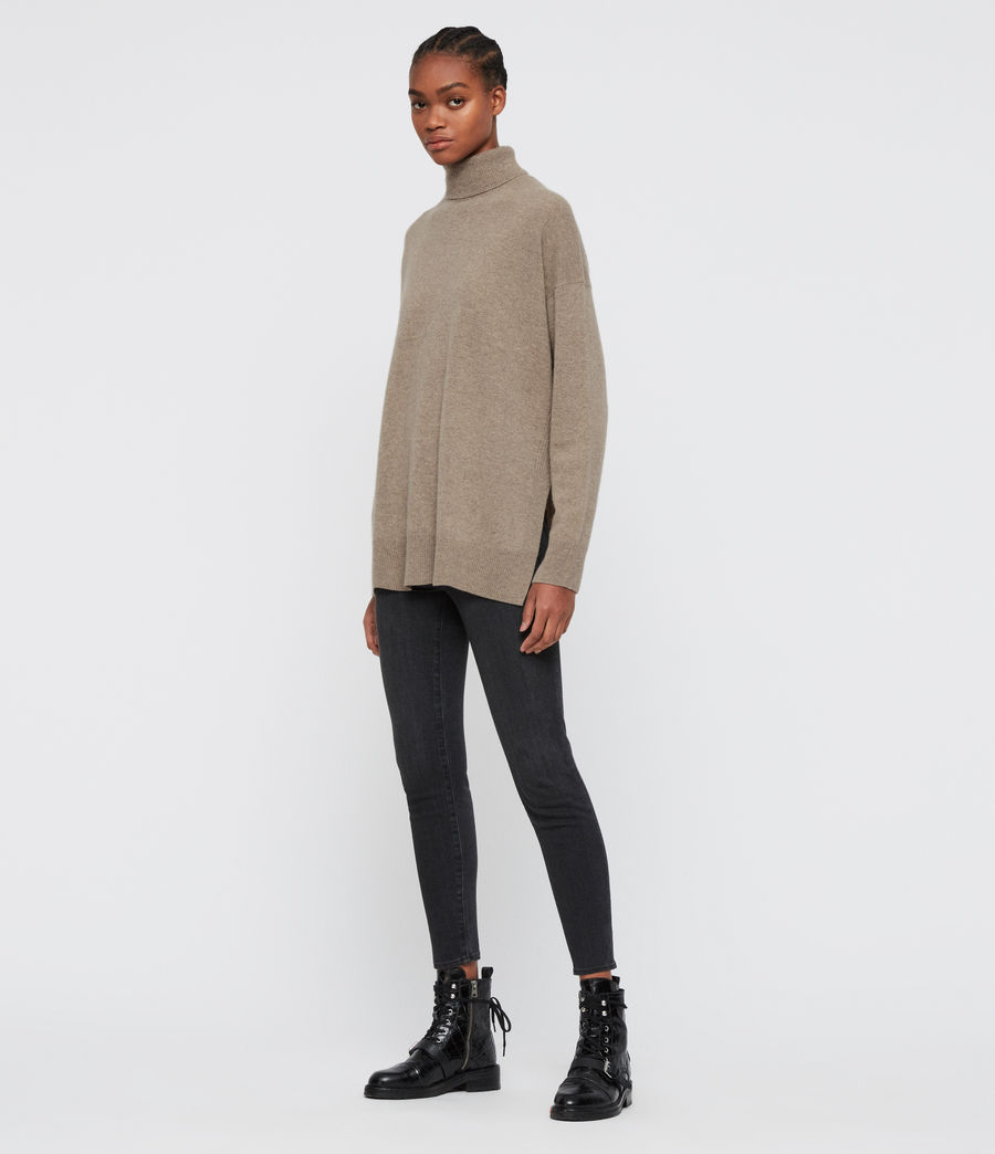 Damen Gala Roll Neck Cashmere Jumper (oat_brown) - Image 1