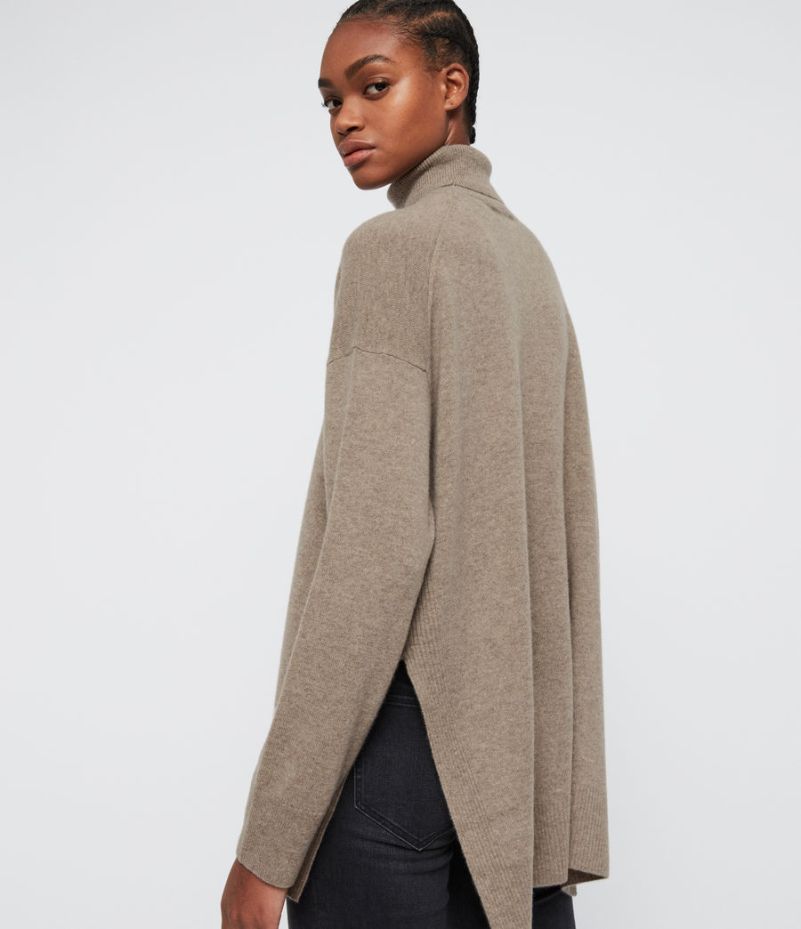 Damen Gala Roll Neck Cashmere Jumper (oat_brown) - Image 2