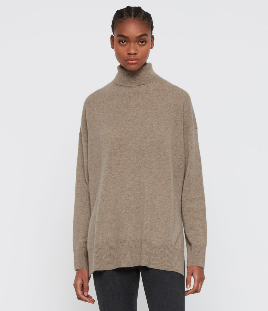 Womens Gala Roll Neck Cashmere Sweater (oat_brown) - Image 3