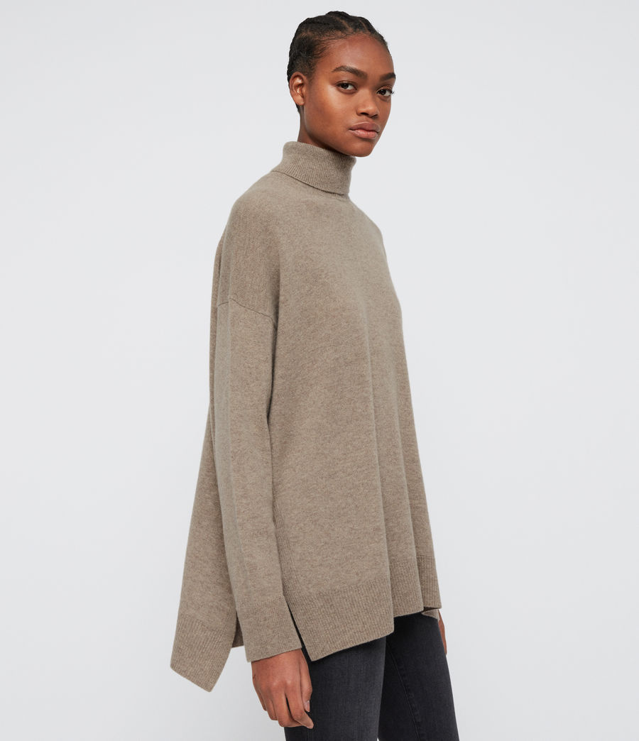 Womens Gala Roll Neck Cashmere Sweater (oat_brown) - Image 4