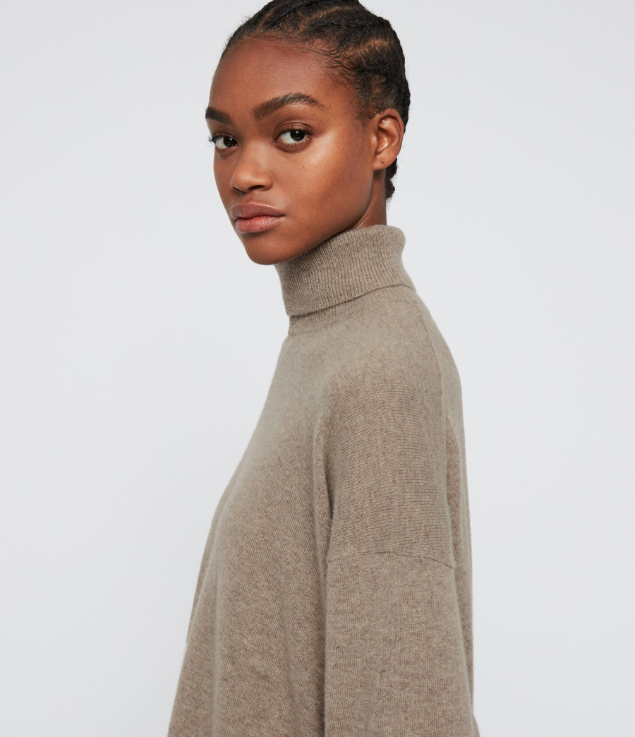 Damen Gala Roll Neck Cashmere Jumper (oat_brown) - Image 5