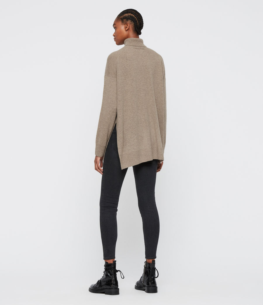 Damen Gala Roll Neck Cashmere Jumper (oat_brown) - Image 6