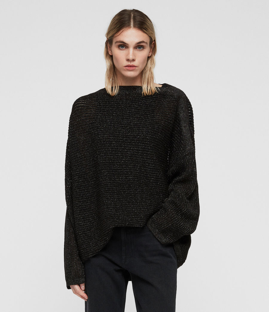 Womens Marcel Metallic Sweater (black) - Image 1