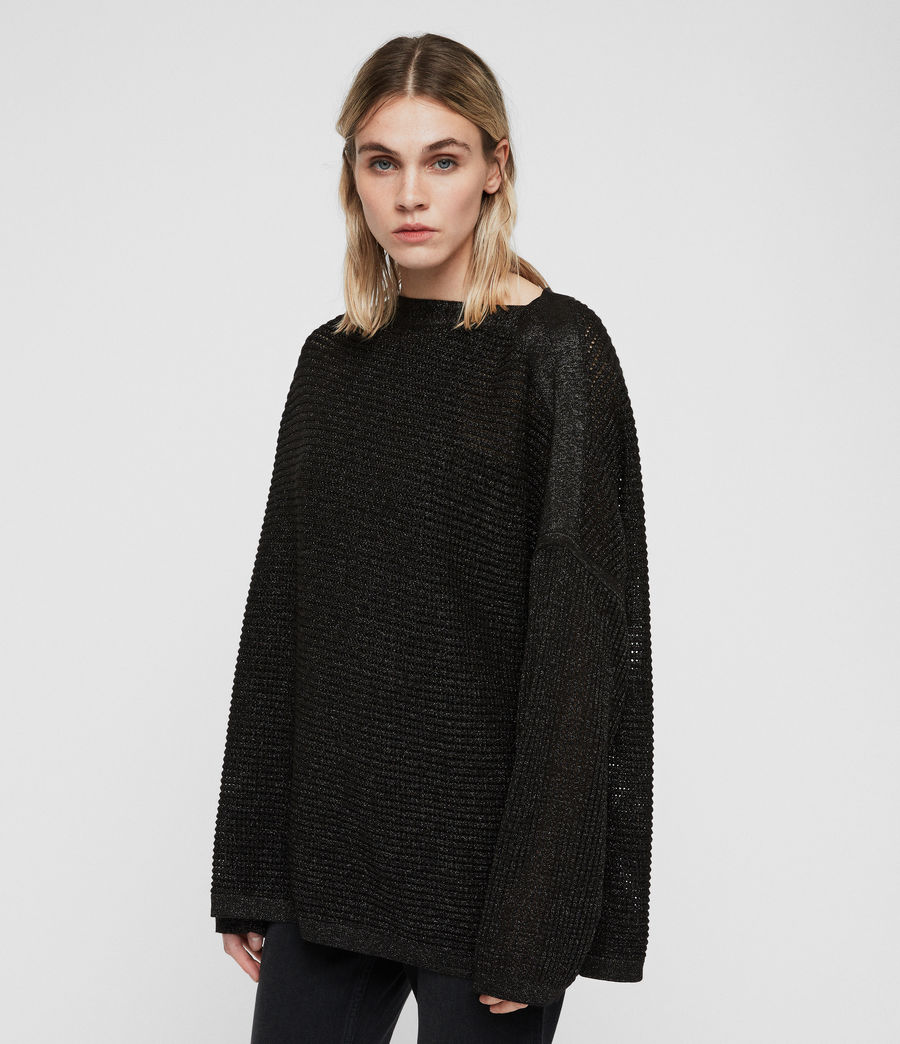 Womens Marcel Metallic Sweater (black) - Image 4