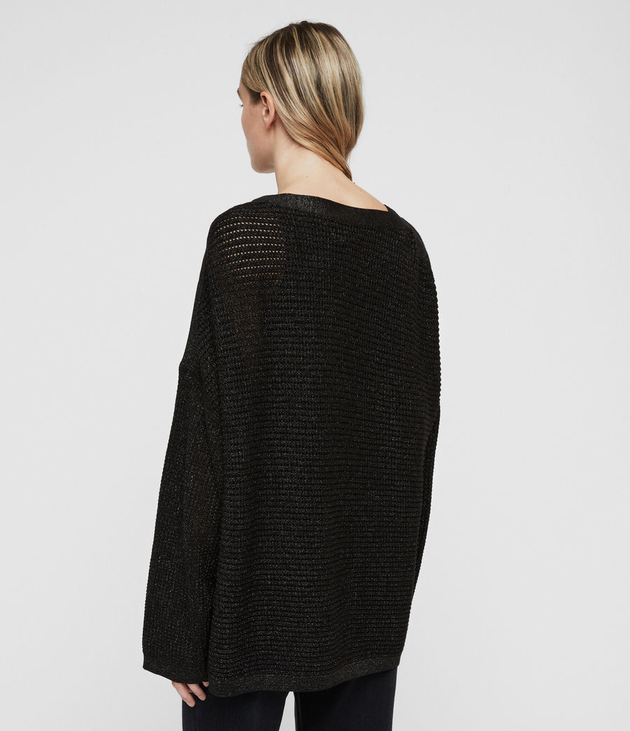 Womens Marcel Metallic Sweater (black) - Image 5