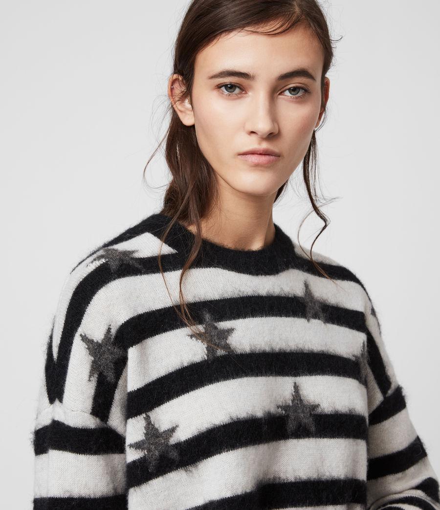 Womens Stars Crew Sweater (ecru_white_black) - Image 4
