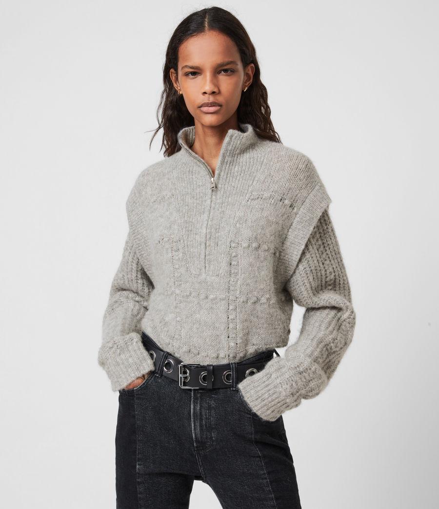 Womens Letta Zip Sweater (pale_grey_marl) - Image 1