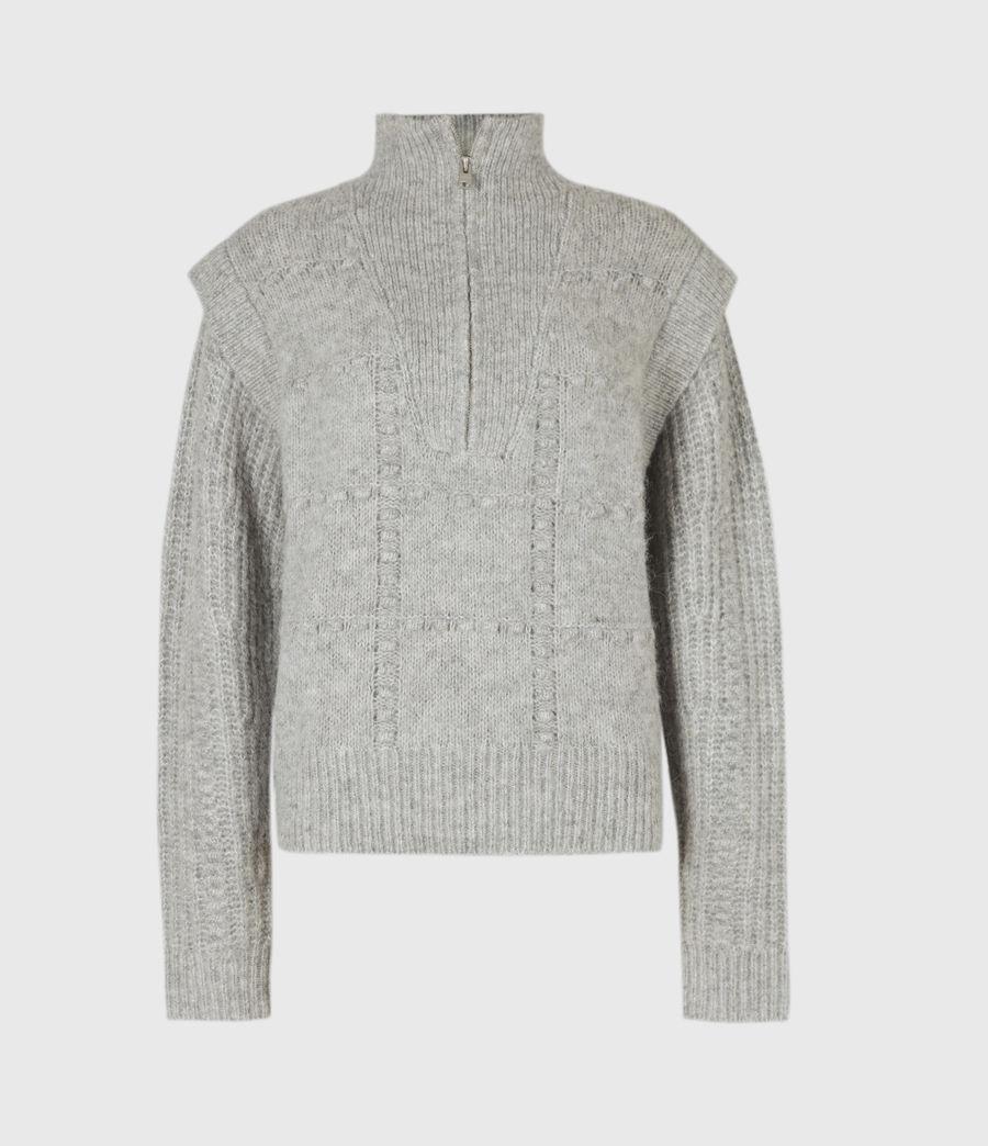 Womens Letta Zip Sweater (pale_grey_marl) - Image 2