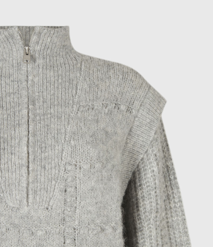 Womens Letta Zip Sweater (pale_grey_marl) - Image 5