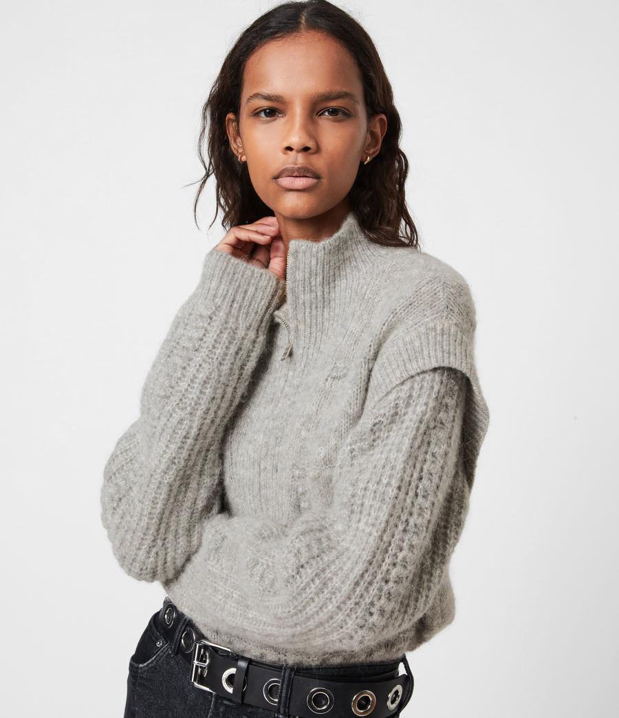 Womens Letta Zip Sweater (pale_grey_marl) - Image 6