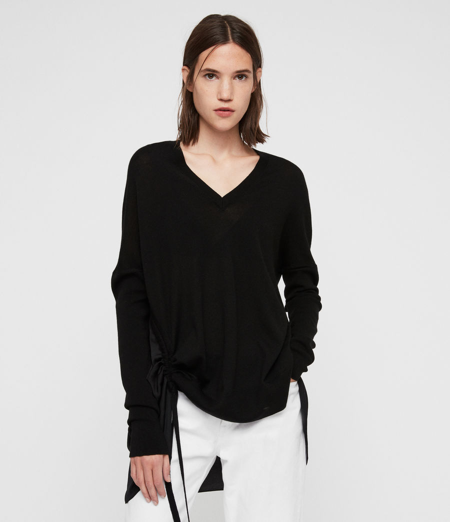 Women's Moira V-neck Jumper (black) - Image 1