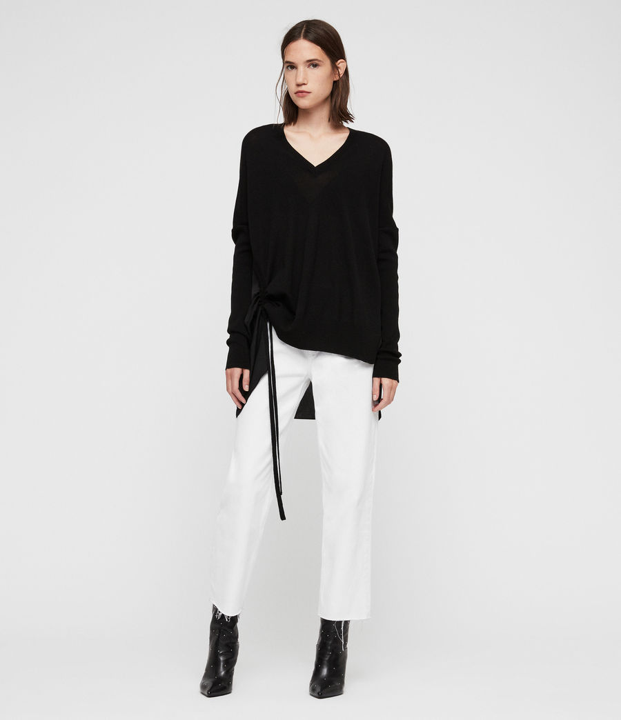 Womens Moira V-neck Sweater (black) - Image 3