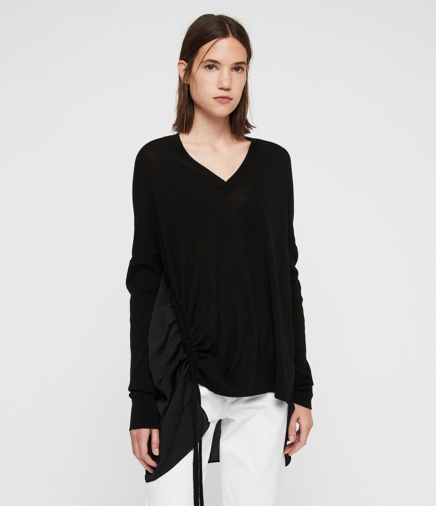 Womens Moira V-neck Sweater (black) - Image 4