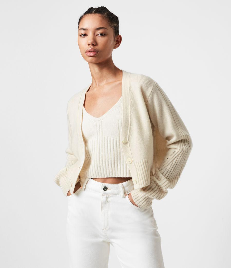Womens Drew Cashmere-Wool Cardigan (ivory_white) - Image 1