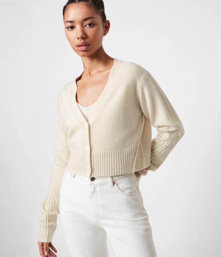 Womens Drew Cashmere-Wool Cardigan (ivory_white) - Image 4