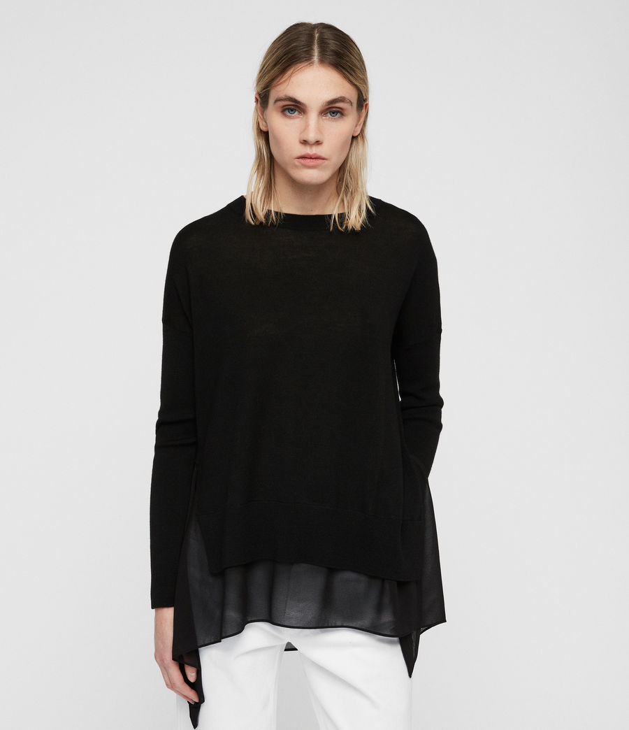 Women's Libby Crew Neck Jumper (black) - Image 1