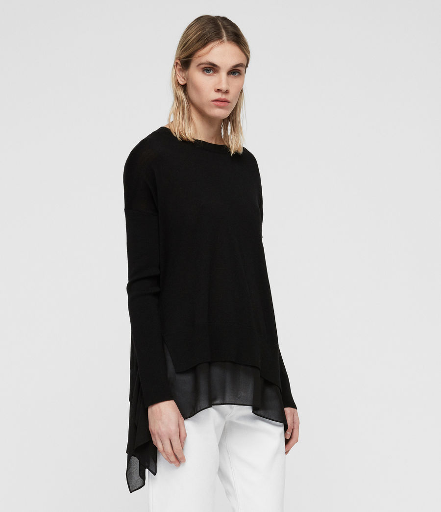 Women's Libby Crew Neck Jumper (black) - Image 4