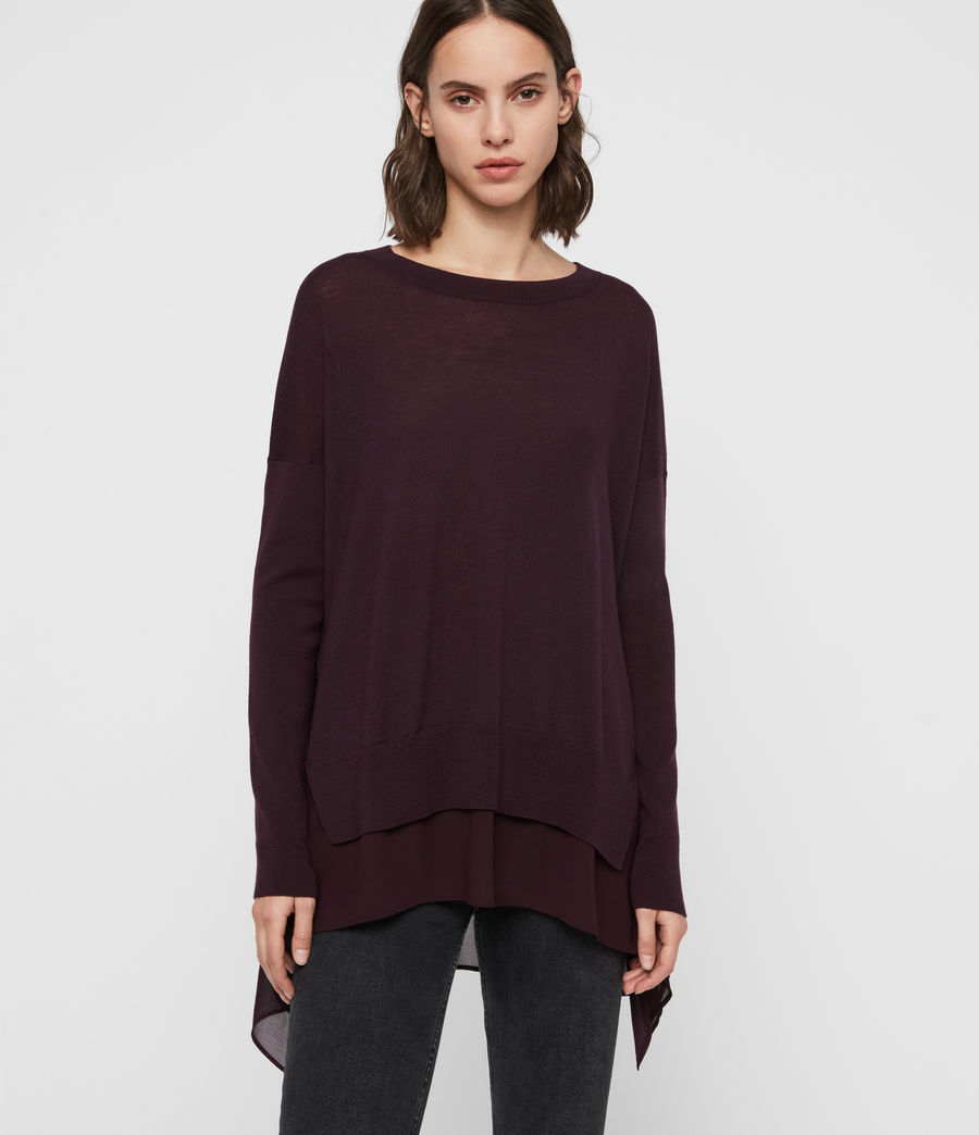 Women's Libby Crew Neck Jumper (port_purple) - Image 1