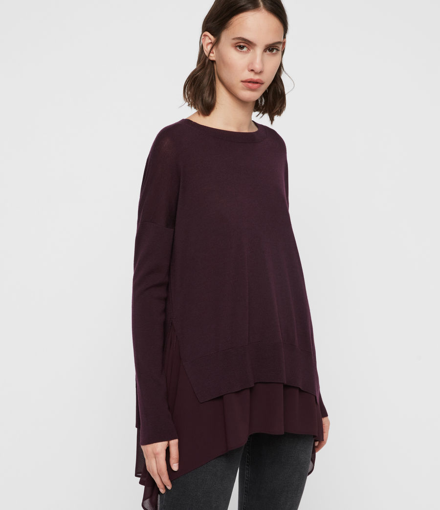Women's Libby Crew Neck Jumper (port_purple) - Image 3