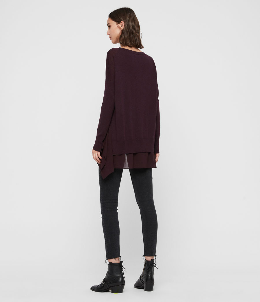 Women's Libby Crew Neck Jumper (port_purple) - Image 5