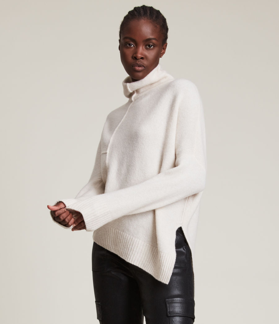 Womens Lock Roll Neck Sweater (alabaster_white) - Image 2