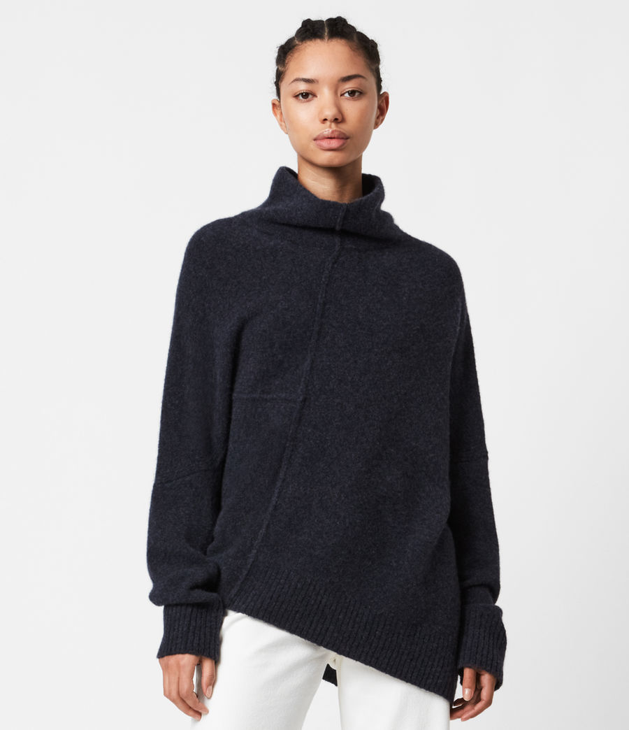 Womens Lock Roll Neck Sweater (total_eclipse_blue) - Image 1