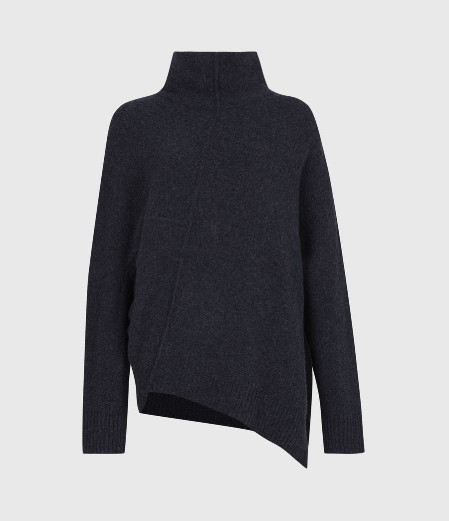 Womens Lock Roll Neck Sweater (total_eclipse_blue) - Image 2
