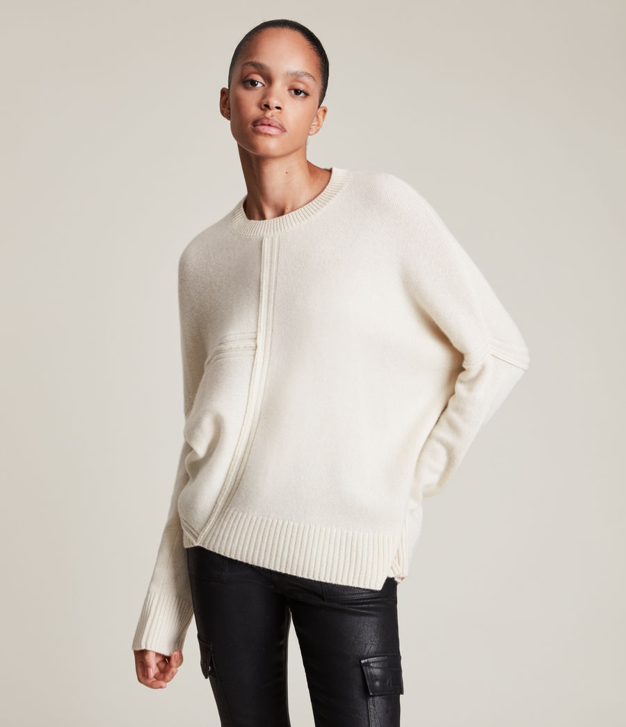 Womens Lock Cashmere Blend Sweater (ivory_white) - Image 1