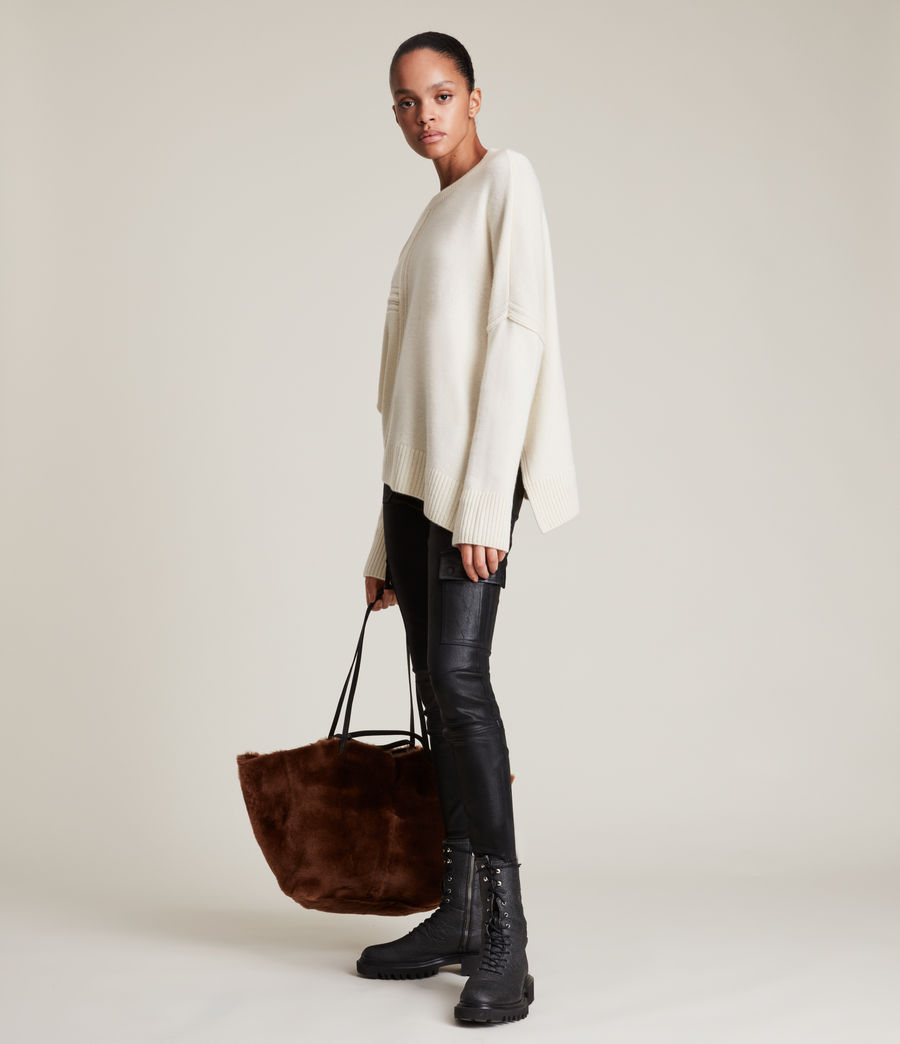 Womens Lock Cashmere Blend Sweater (ivory_white) - Image 3