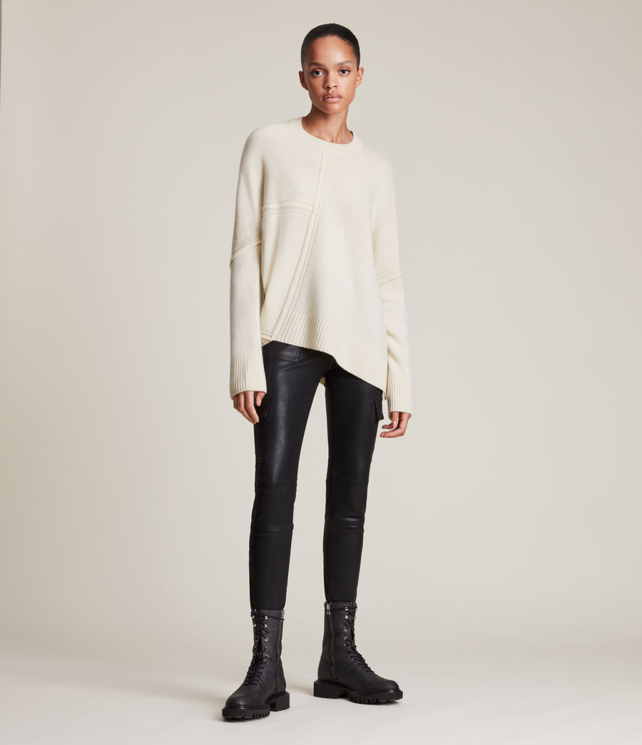Womens Lock Cashmere Blend Sweater (ivory_white) - Image 4