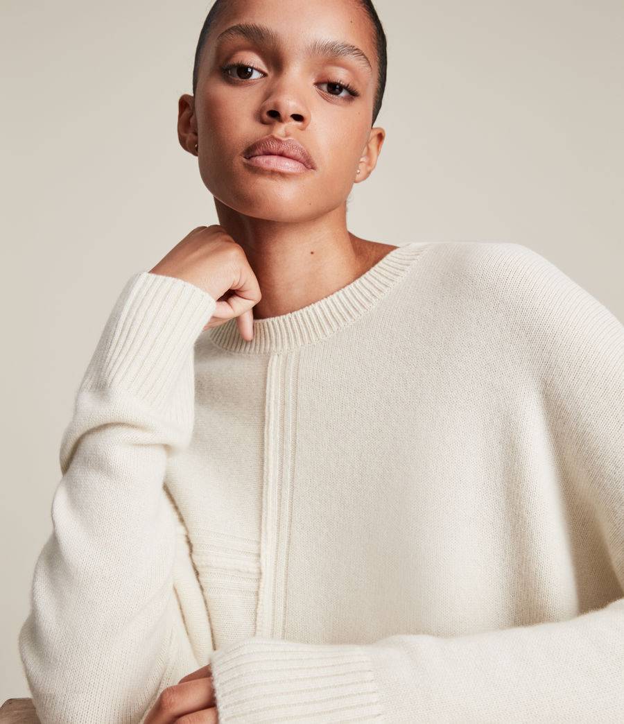 Womens Lock Cashmere Blend Sweater (ivory_white) - Image 5