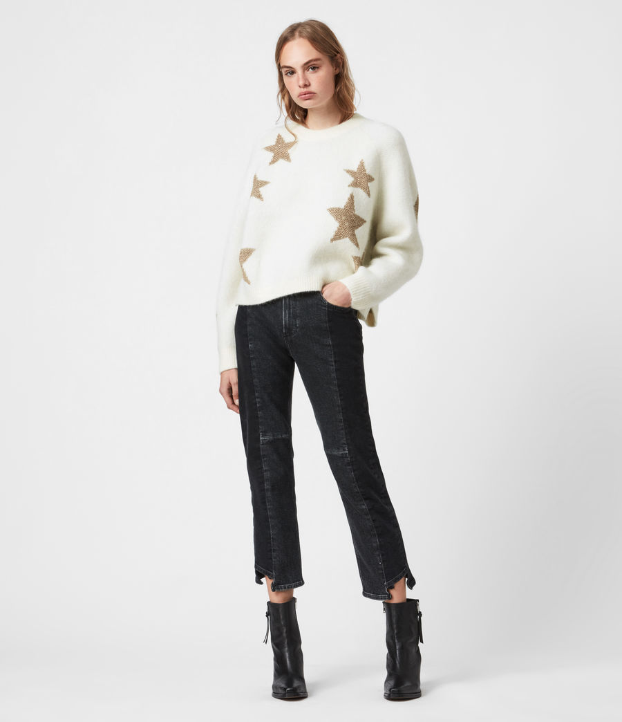 Womens Star Sweater (ivory_gold) - Image 1
