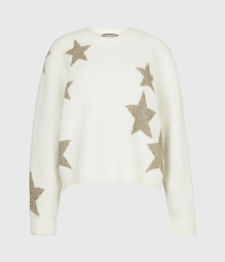 Womens Star Sweater (ivory_gold) - Image 2